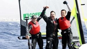 (Left to right): Robert Dickson, Matt McGovern and Sean Waddilove celebrate qualification.