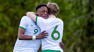 Jonathan Afolabi (L) celebrates his goal with Luca Connell