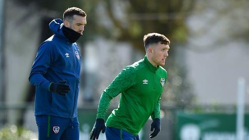Shane Duffy (L) and Dara O'Shea during training on Friday