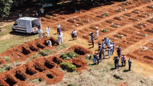 Workers at the Vila Formosa cemetery in Sao Paulo today, where bodies of coronavirus victims are buried