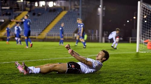 Jordan Gibson of Sligo Rovers celebrates his side's first goal