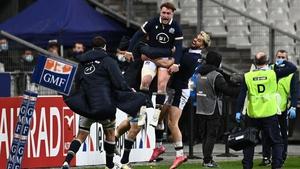 Stuart Hogg celebrates his side's late winner