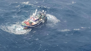 The skipper and six crewmen were winched to safety yesterday