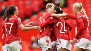 Christen Press with teammates Millie Turner, Lauren James, and Maria Thorisdottir, after scoring her team's second goal