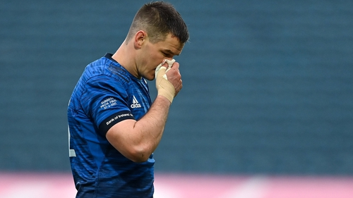 Johnny Sexton leaves the pitch during Leinster's win over Munster