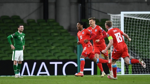 Luxembourg's striker Gerson Rodrigues celebrates scoring the winner in Dublin