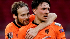 Steven Berghuis (right) celebrates with Daley Blind after scoring the Netherlands' first goal