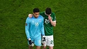 Dara O'Shea and Gavin Bazunu leave the pitch after Ireland's 1-0 loss to Luxembourg