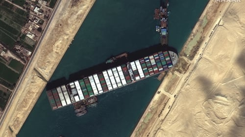 Most consumers are unaware that around 90% of the world's trade is transported by sea. 12% of it passes through the Suez Canal which shortens travel distance between Asia and Europe by a third. Photo: Getty Images/Maxar Technologies.