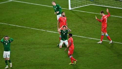 James Collins reacts to a missed chance against Luxembourg
