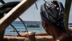 People displaced by the violence in Cabo Delgado arrive in Pemba, in July 2020