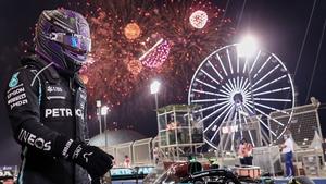 Fireworks lit up the sky after Mercedes' Lewis Hamilton won the Bahrain Formula One Grand Prix