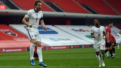 Harry Kane celebrates his goal at Arena Kombetare in Tirana
