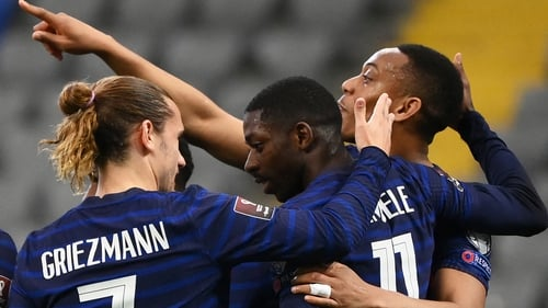 France goalscorer Ousmane Dembele is congratulated by Antoine Griezmann and Anthony Martial