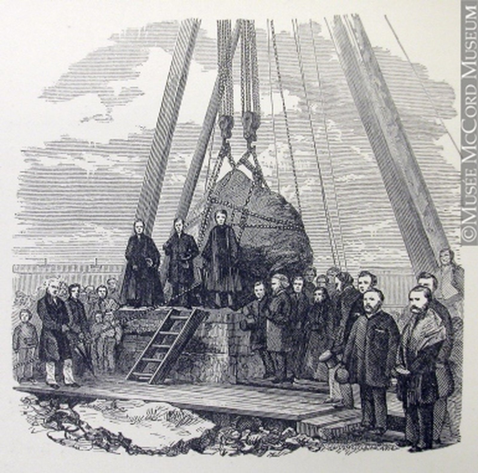 Image - A depiction of the laying of the 'Black Rock' of Montreal, marking the graves of 6000 Irish iimmigrants near Victoria Bridge (1860). Gift of Mr. David Ross McCord. M15934.45 © McCord Museum