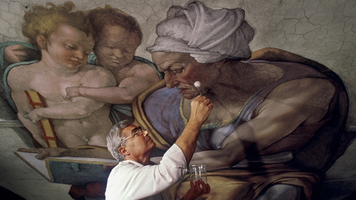Gianluigi Colalucci worked on the Sistine Chapel from 1980 to 1994, removing centuries of dust and smoke that had dulled the vivid colours of the Renaissance masterpiece