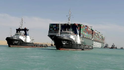 The MV Ever Given is being moved north for an inspection