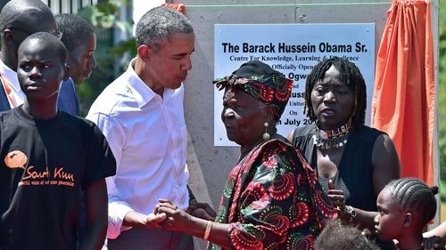 Barack Obama with Sarah Obama in Kenya in 2018
