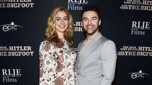 Caitlin FitzGerald and Aidan Turner, pictured at the premiere of The Man Who Killed Hitler and Then the Bigfoot in Hollywood in February 2019
