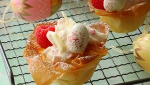 Shane Smith's Raspberry, white chocolate and lime tarts.