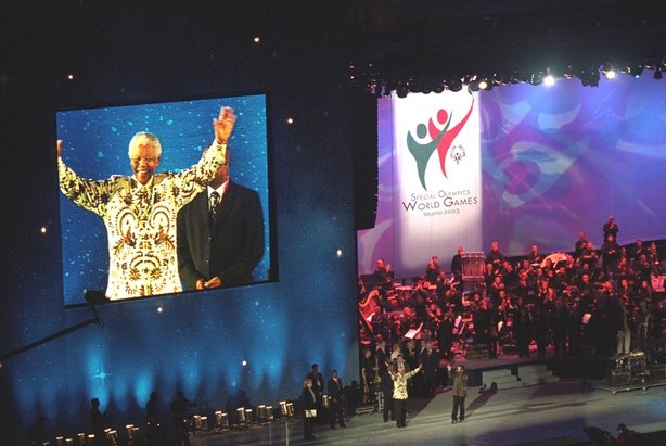 Former President of South Africa Nelson Mandela, on stage at Dublin's Croke Park, during the opening ceremony of the 2003 Special Olympics on 21 June.