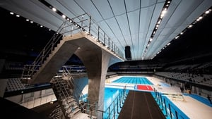 A view of the the diving platform and swimming pool at the Tokyo Aquatics Centre