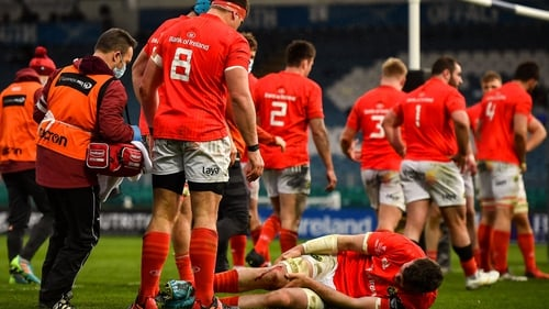 Peter O'Mahony lies injured on the RDS pitch during the Pro14 final