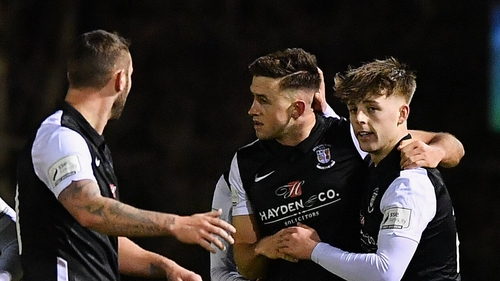 Stephen Meaney (centre) scored a brace for Athlone (file photo)