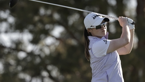 Leona Maguire in action during the second round of the ANA Inspiration, which is the opening major of the year on the LPGA Tour