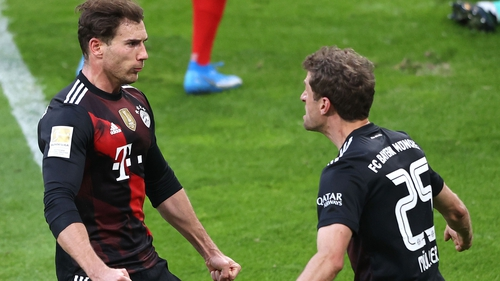 Leon Goretzka (left) scored Bayern's winner at Leipzig
