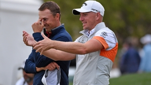 Leaders Matt Wallace and Jordan Spieth share a joke during the third round in Texas