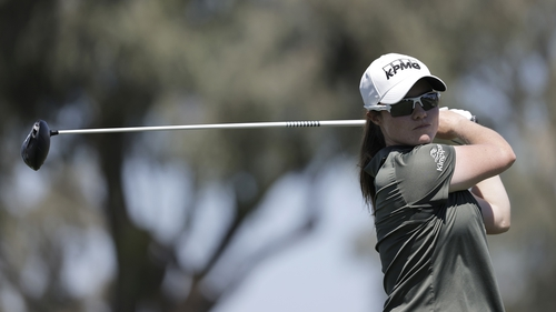 Leona Maguire teeing off on the second hole, where she made eagle, however, five bogeys on the back nine have ruined her major chances