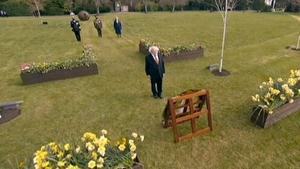 The President remainedat Áras an Uachtaráinwhere he rang the Peace Bell