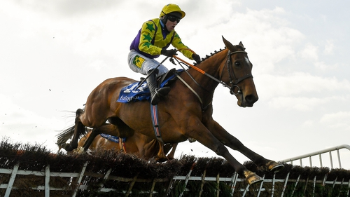 Skyace, rode by Jody McGarvey, jumps the last on her way to victory