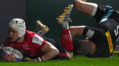 Michael Lowry dives over for Ulster's fourth try