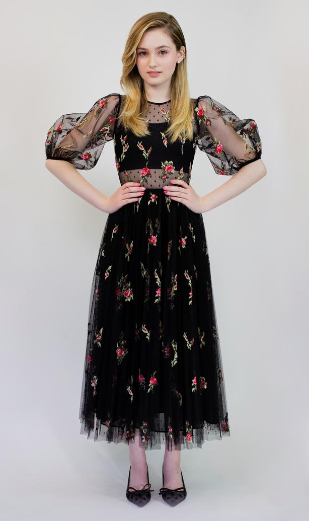 Audrey Grace Marshall wearingREDValentino