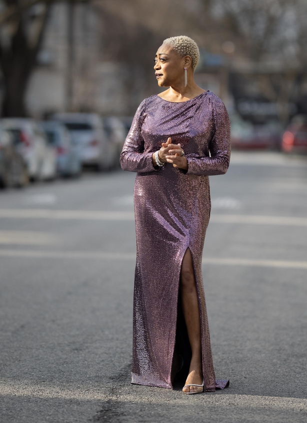Karen Robinson wearingBadgley Mischka