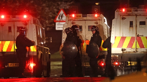 PSNI officers on duty in Carrickfergus last night