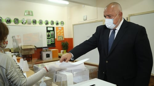 Bulgarian Prime Minister Boyko Borissov casts his ballot at a polling station