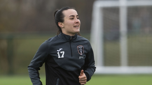Niamh Farrelly in training with Glasgow City last month