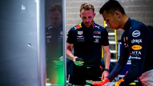 Patrick Harding (L) has been working with Red Bull driver Alex Albon