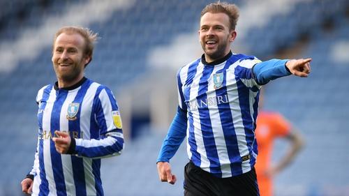 Jordan Rhodes (R) and Barry Bannan celebrate Rhodes' goal for Sheffield Wednesday