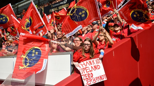 Munster fans at Thomond Park before the Guinness Pro14 semi-final play-off match against Edinburgh in 2018