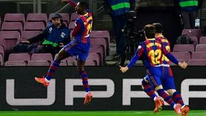 Barcelona's Ousmane Dembele celebrates his crucial winner