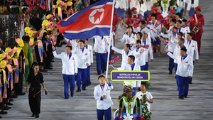 The North Korean delegation at the opening ceremony of the 2016 Olympic Games in Rio