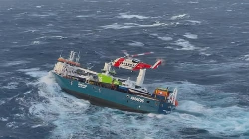 The cargo ship was evacuated in stormy weather off the coast of Norway (Pic: JRCC South-Norway)
