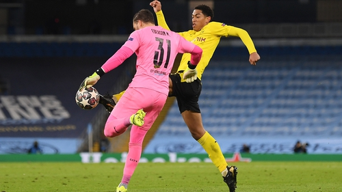 Jude Bellingham (R) nicked the ball away from Ederson but the whistle blew before he could tap into the empty net