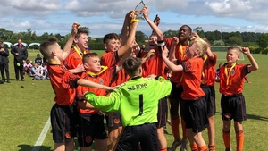 St Kevin's Boys celebrate beating Manchester United in the 2019 U-13 Oakham Tournament