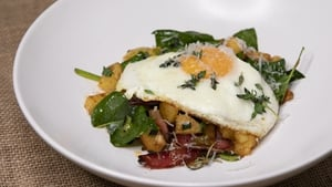 Kevin Aherne's chorizo hash with fried eggs & parmesan
