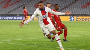 Kylian Mbappe celebrates his opening goal for Paris Saint-Germain